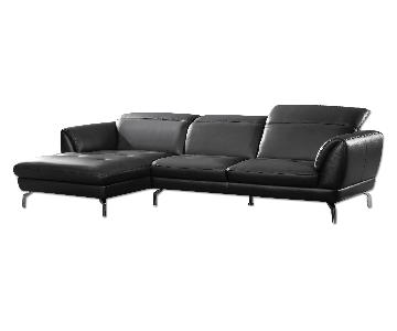 Contemporary Sectional in Black Top Grain Leather w/ Matching Faux Leather With Tufted Seats & Adjustable Headrests