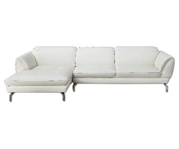 Contemporary Sectional in Off-White Top Grain Leather w/ Matching Faux Leather, Tufted Seats & Adjustable Headrests