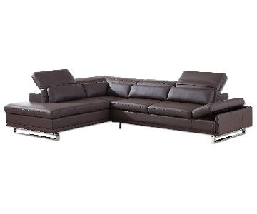 Modern Style Sectional in Brown Bonded Leather w/ Matching Faux Leather, Adjustable Headrests & Chrome Legs