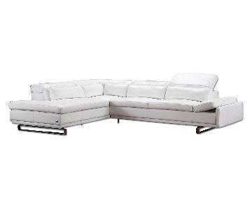 Modern Style Sectional in White Bonded Leather w/ Matching Faux Leather, Adjustable Headrests & Chrome Legs