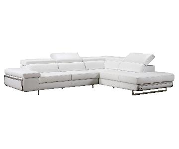 Contemporary Style Sectional in White Bonded Leather w/ Matching Faux Leather, Adjustable Headrests & Chrome Legs