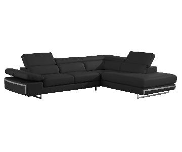 Contemporary Style Sectional in Black Bonded Leather w/ Matching Faux Leather, Adjustable Headrests & Chrome Legs