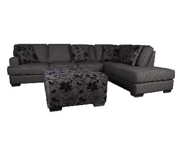 Modern Sectional in Dark Charcoal Fabric w/ Floral Accent Pillows