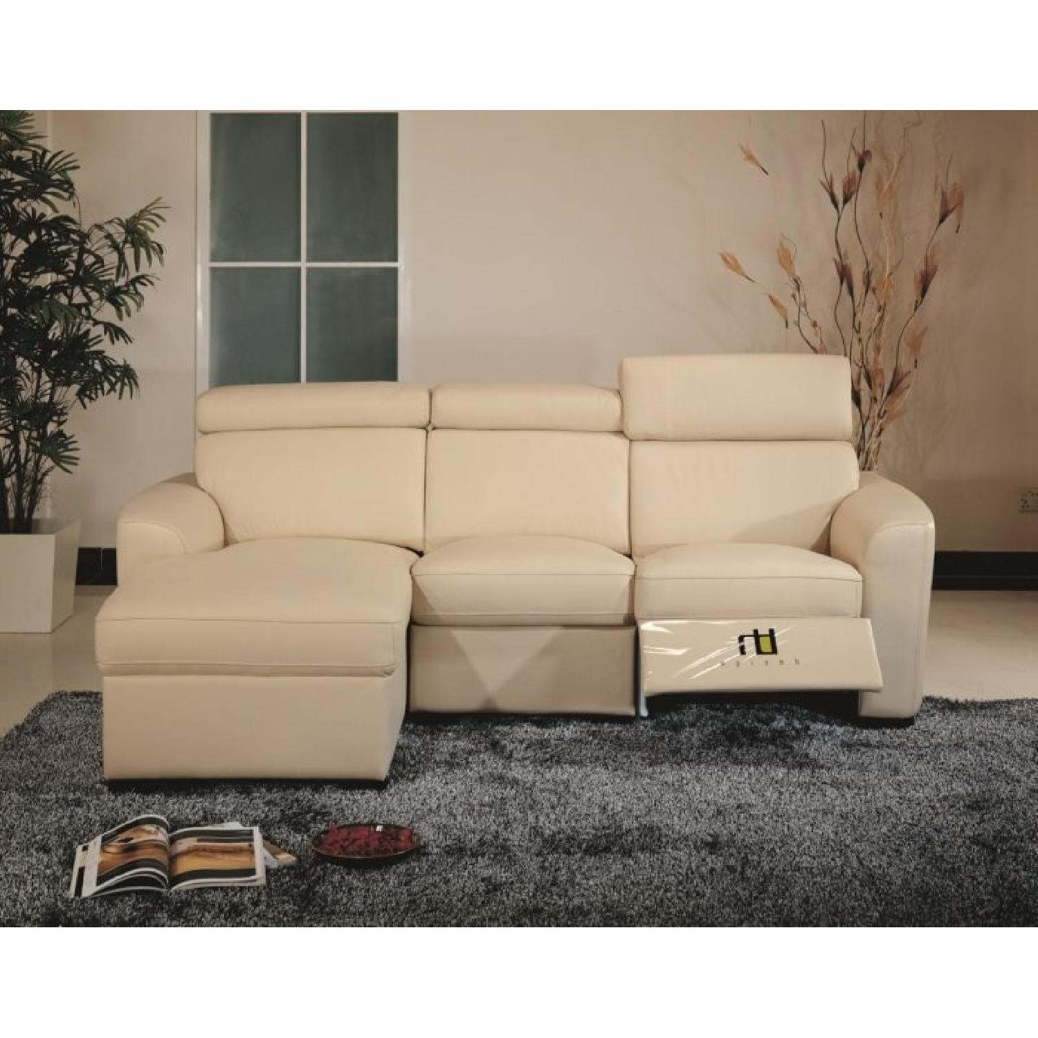 Apartment Size Sectional in Beige Top Grain Leather w/ Matching Faux  Leather w/ a Built-In Recliner & Adjustable Headrests