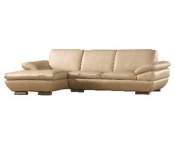Contemporary Style Sectional in Almond Color Top Grain Leather w/ Matching Faux Leather