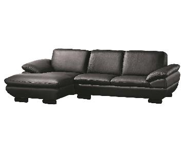 Contemporary Style Sectional in Black Top Grain Leather w/ Matching Faux Leather