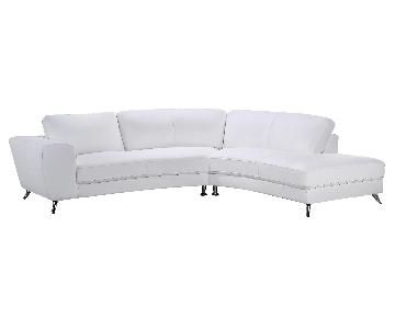 Contemporary Sectional Sofa in White Top Grain Leather w/ Matching Faux Leather & Chrome Legs