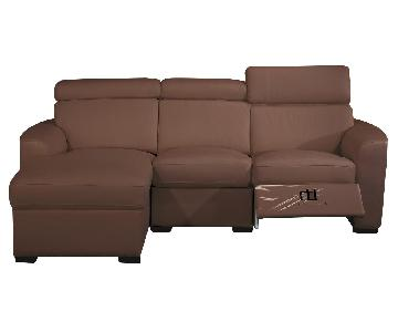 Apartment Size Sectional in Brown Top Grain Leather w/ Matching Faux Leather w/ a Built-In Recliner & Adjustable Headrests