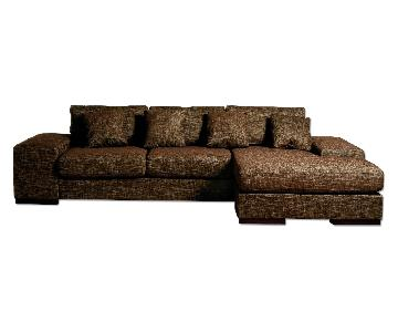 Contemporary Sectional Sofa w/ Reversible Chaise in Premium Chocolate Brown Woven Fabric