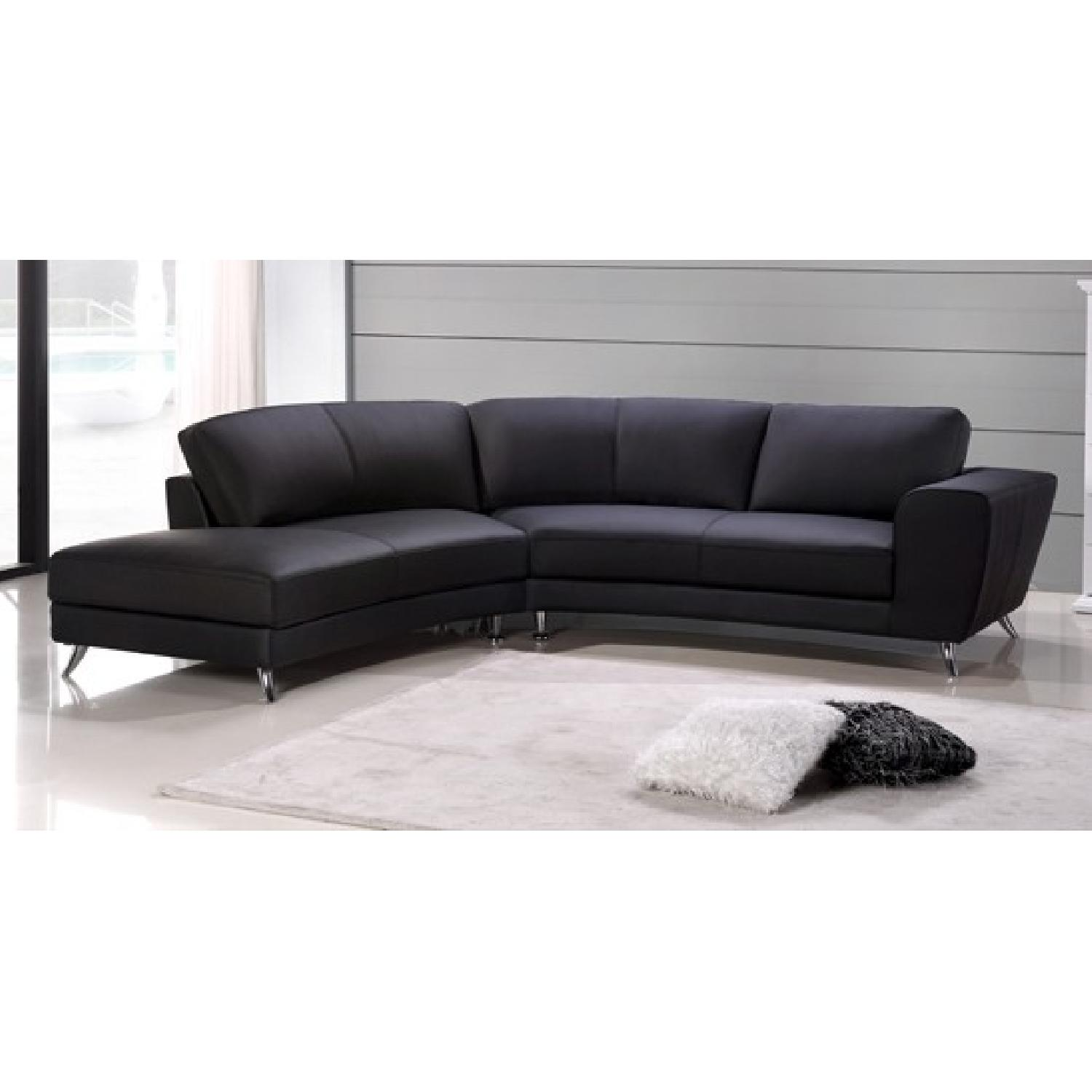 Contemporary Sectional Sofa In Black Top Grain Leather W Matching Faux Leather Chrome Legs