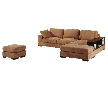 Modern Convertible Sectional Sofa in Medium Brown Soft Fabric & High Density Foam w/ Built-In Armrest Bookcase & 2 Ottomans