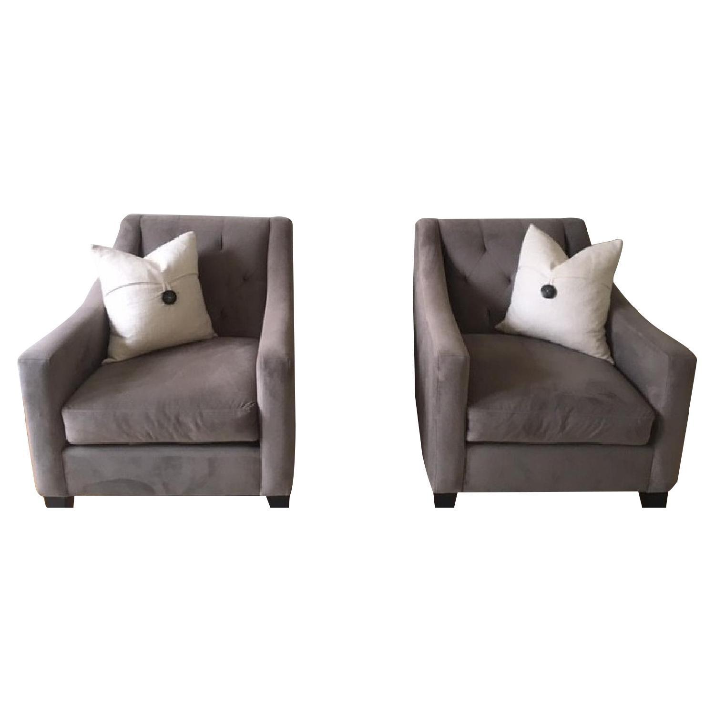 Macy's Chloe Grey Tufted Velvet Chairs
