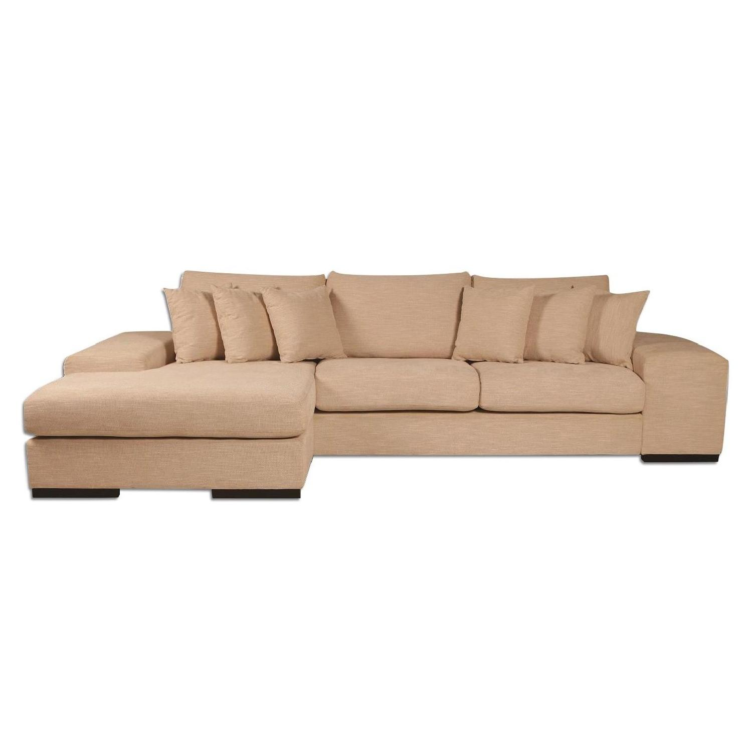 Contemporary Sectional Sofa W Reversible Chaise In Premium Wheat Woven Fabric