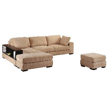 Modern Convertible Sectional Sofa in Beige Soft Fabric & High Density Foam w/ Built-In Armrest Bookcase & 2 Ottomans