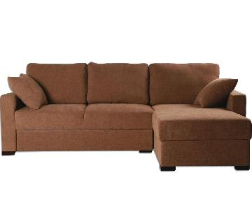 Apartment Size Convertible Sectional in Brown Color Fabric & High Density Foam w/ Pull-Out Sleeper & Storage Chaise