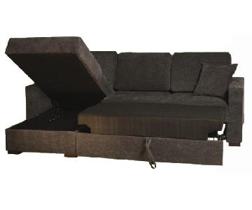 Apartment Size Convertible Sectional in Graphite Color Fabric & High Density Foam w/ Pull-Out Sleeper & Storage Chaise