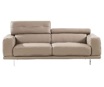 Modern Style Sofa w/ Adjustable Headrests & Tufted Sides in Taupe Color Top Grain Leather