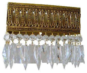 Spanish Vintage Crystal and Brass Wall Sconce