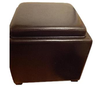 Crate & Barrel Leather Ottomans