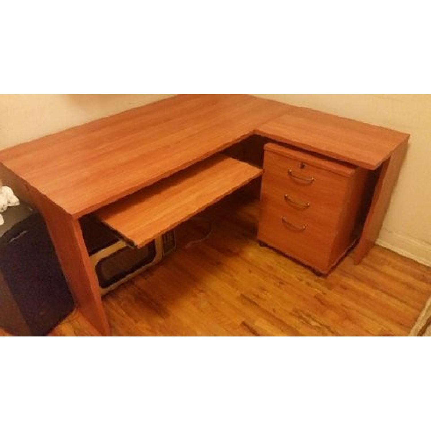 sauder four base legs home shaped on impressive shap hon one and filing executive file ikea cabinet outstanding computer desk with furniture office hutch top wooden bestar decorating l u