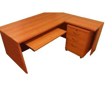 Steelcase Cherry L-Shaped Desk & File Cabinet