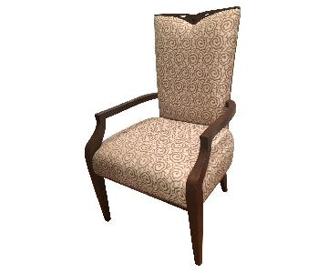 Brown & White Transitional Embroidered Chair w/ Mahogany Frame