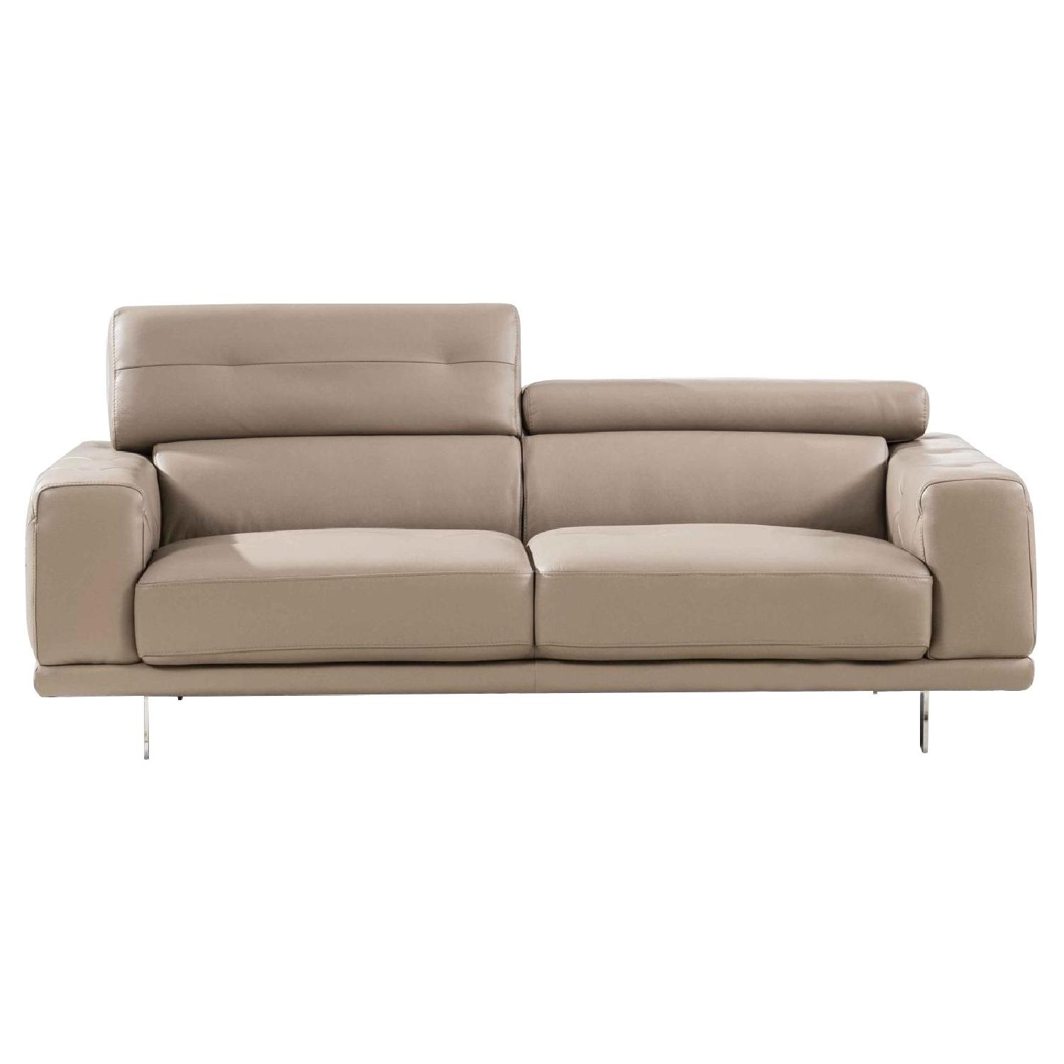 Modern Style Loveseat W/ Adjustable Headrests U0026 Tufted Sides In Taupe Color  Top Grain Leather