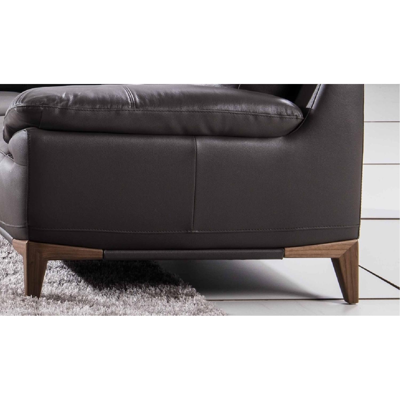 Mid-Century Style Sofa with An Adjustable Headrest in Dark Grey Genuine  Leather