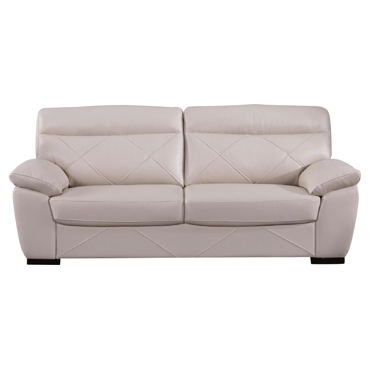 Modern Style Sofa in Taupe Color Top Grain Leather w/ Padded Headrests & Tufted Button Sides