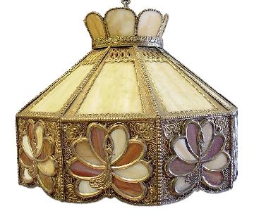 Vintage 3 Light Stained Glass Peacock Chandelier w/ Filigree Detailing
