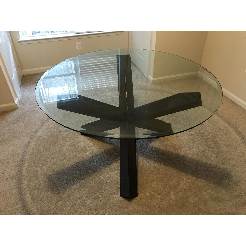 Rooms To Go Contemporary Cross Legged Dark Espresso Brown Wood Round Glass Dining Table Aptdeco