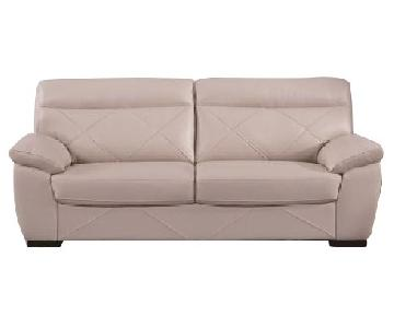 Modern Style Loveseat in Top Grain Leather w/ Matching Faux Leather Padded Headrests & Tufted Button Sides