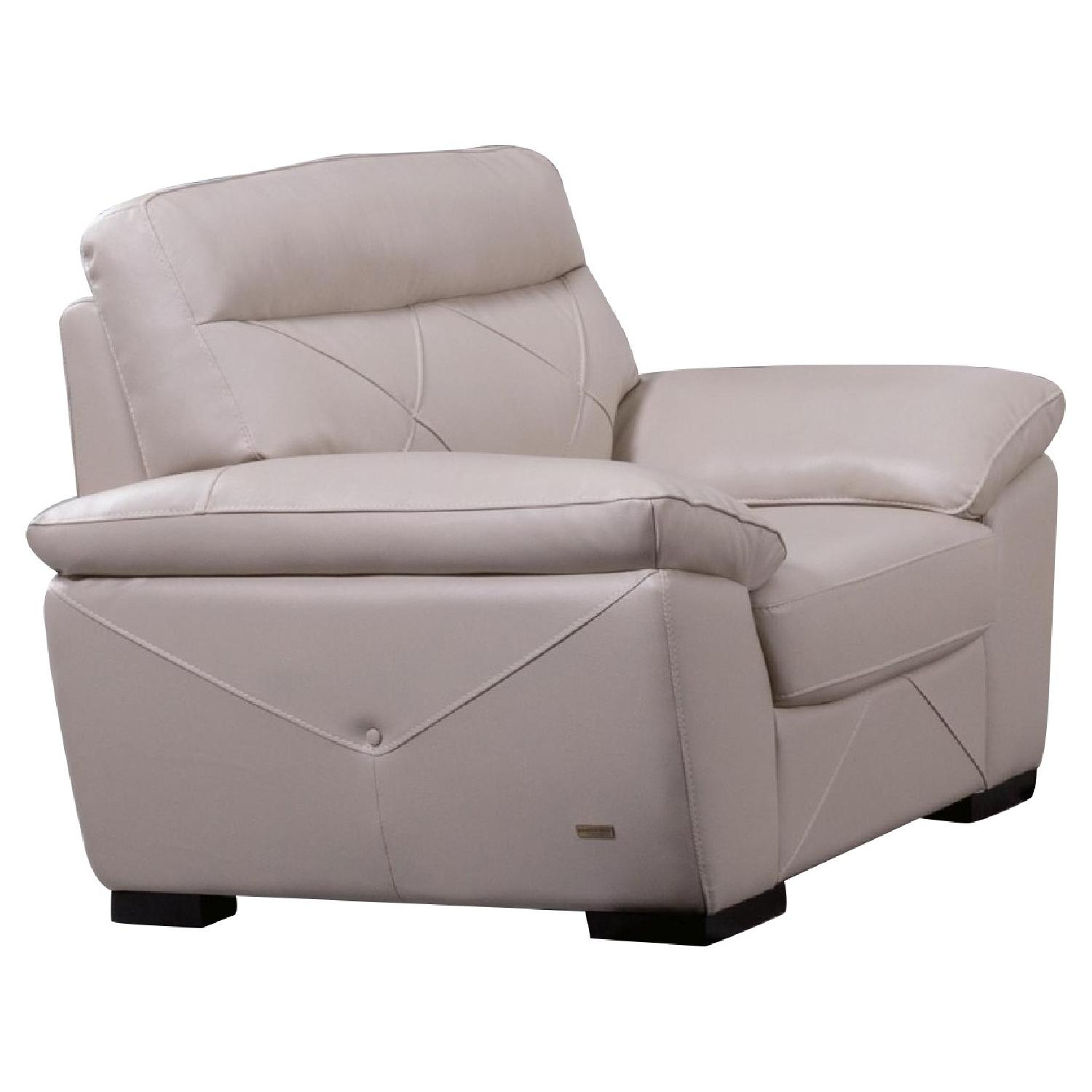 Modern Style Arm Chair in Taupe Color Top Grain Leather w/ Matching Faux Leather Padded Headrests & Tufted Button Sides