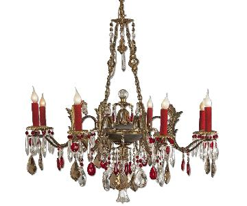 Vintage Brass Red Crystal 8 Light Chandelier