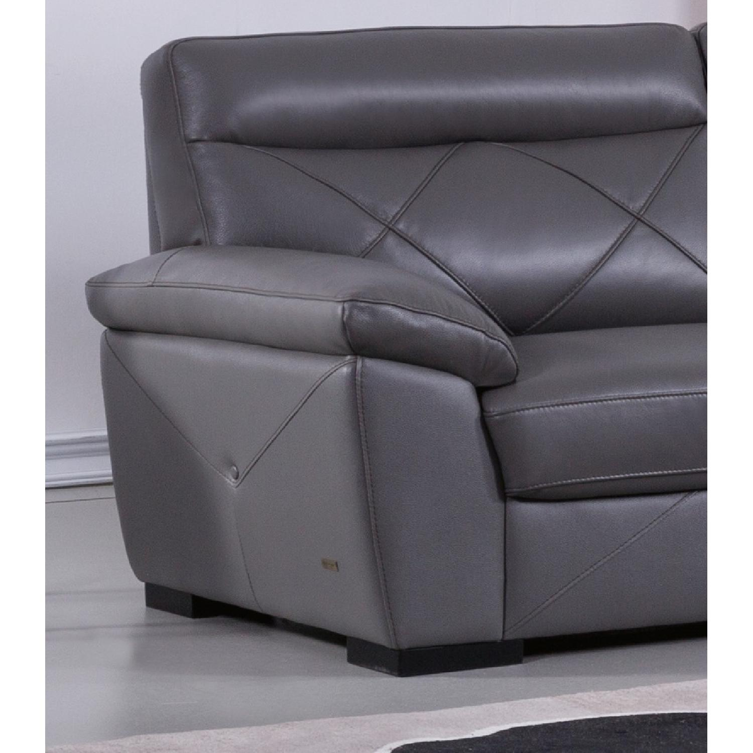 Astounding Modern Style Loveseat In Dark Grey Top Grain Leather W Short Links Chair Design For Home Short Linksinfo