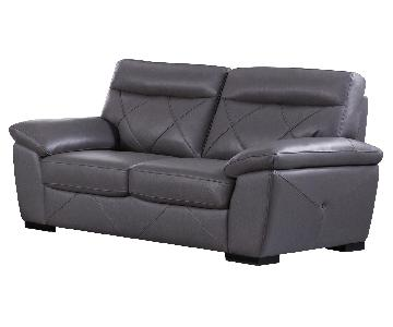 Modern Style Loveseat in Dark Grey Top Grain Leather w/ Matching Faux Leather Padded Headrests & Tufted Button Sides