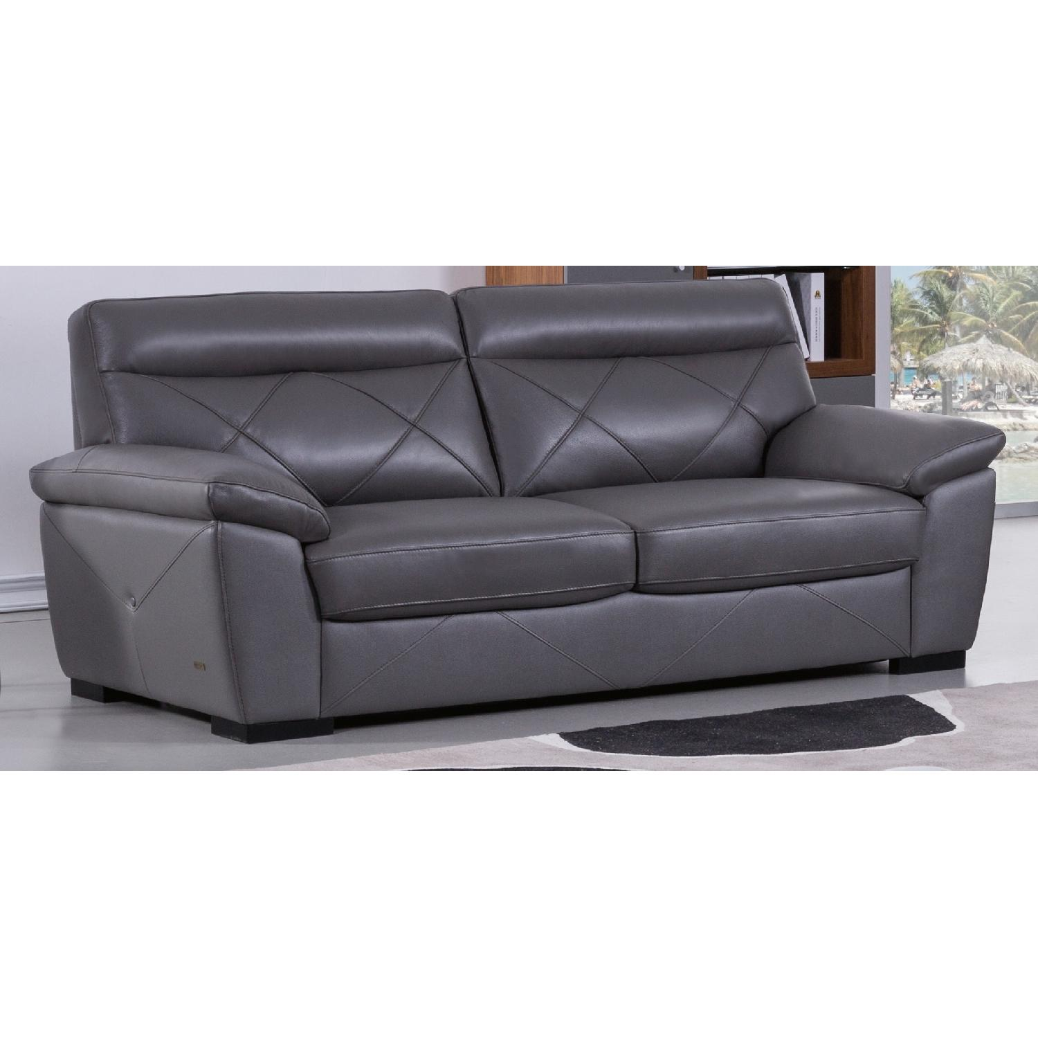 Modern Style Sofa in Dark Grey Top Grain Leather w/ Matching Faux Leather  Padded Headrests & Tufted Button Sides