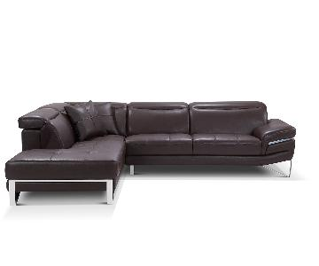 Contemporary European 2 Piece Brown Sectional in Full Leathe