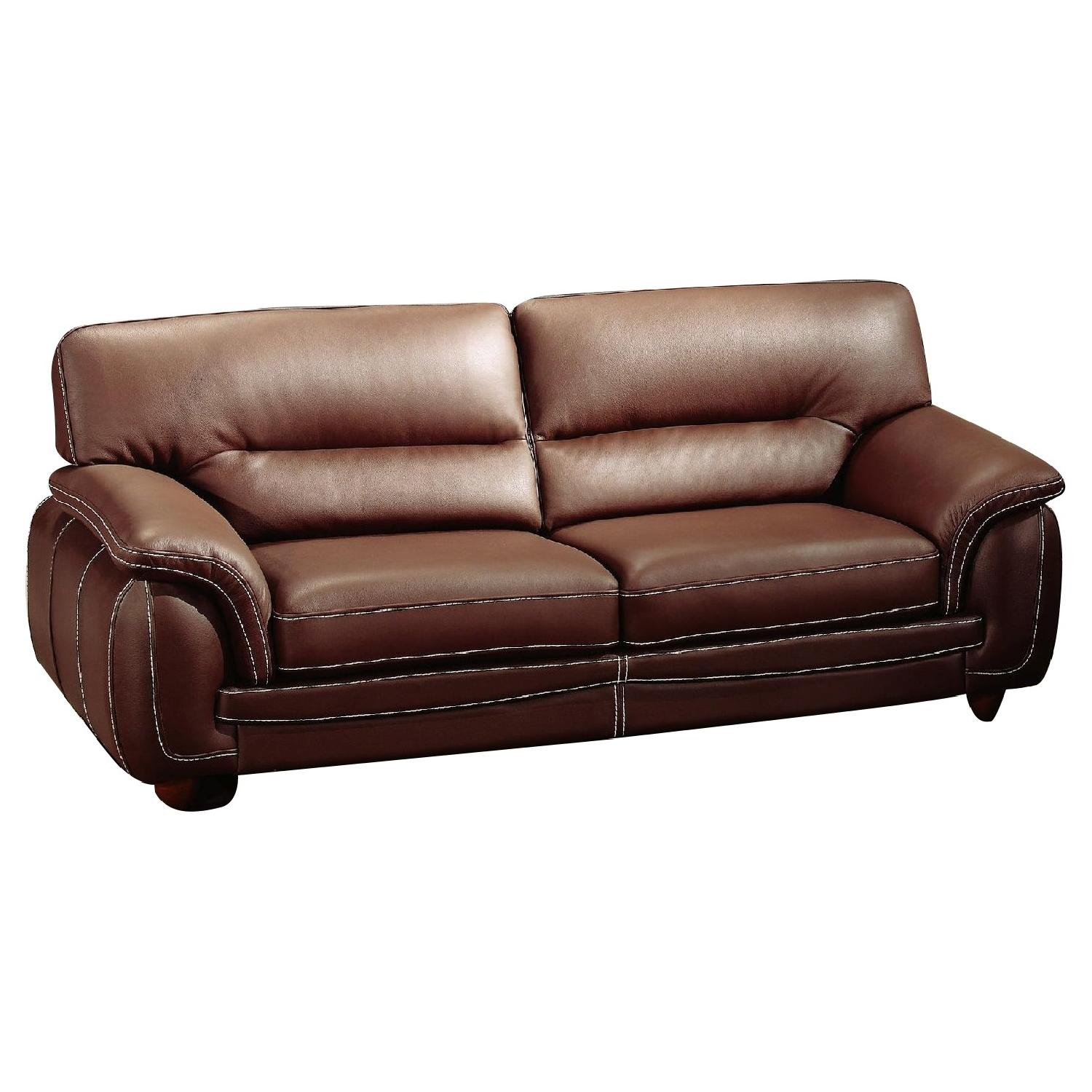 Modern Sofa in Brown Top Grain Leather w/ High Density Foam & White Stitching