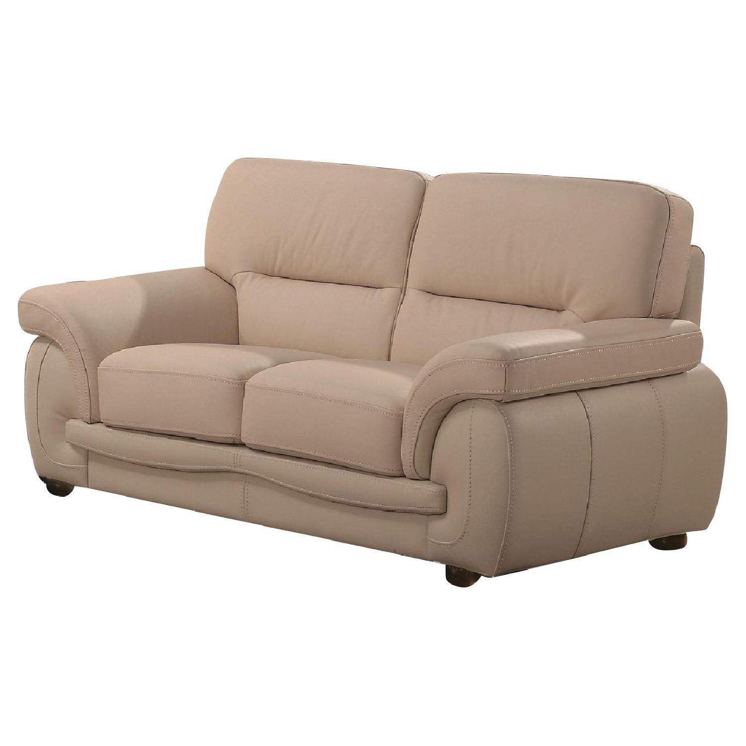 Modern Loveseat in Beige Top Grain Leather w/ High Density Foam & White Stitching