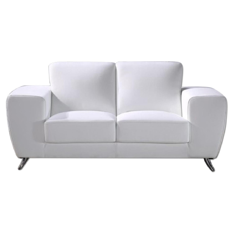 Modern Style Loveseat in White Top Grain Leather w/ Clean Li