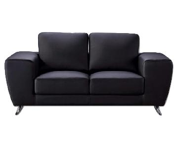 Modern Style Loveseat in Black Top Grain Leather w/ Clean Lines & Chrome Legs