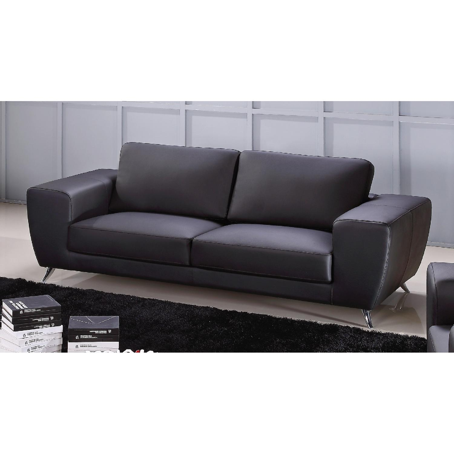 Modern Style Sofa in Black Top Grain Leather w/ Clean Lines ...