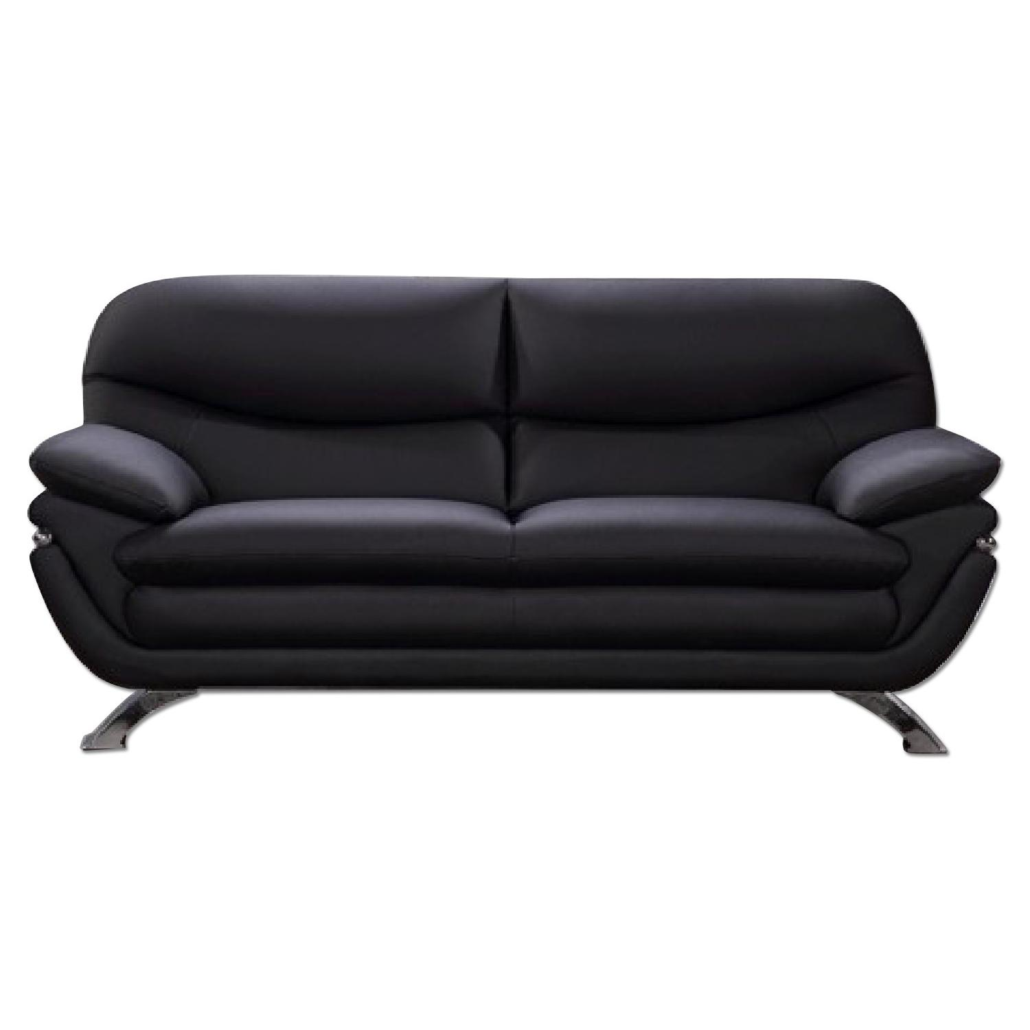 Modern Style Sofa in Black Top Grain Leather w Clean AptDeco