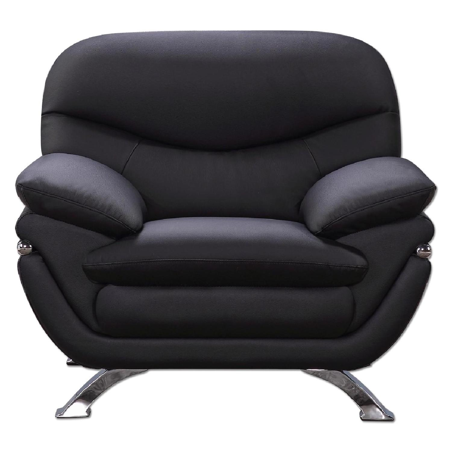 Modern Arm Chair in Black Top Grain Leather w/ Gently Sloped Armrests & Chrome Legs