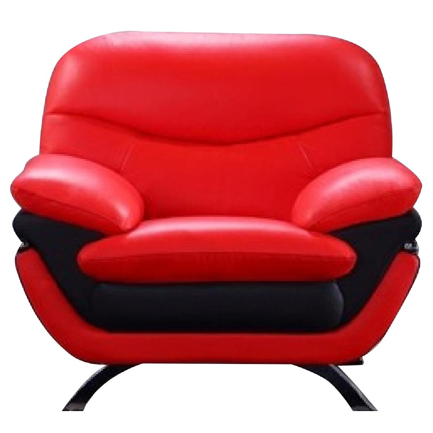Modern Arm Chair in 2-Tone Red-Black Top Grain Leather w/ Sloped Armrests & Chrome Legs