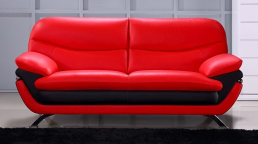 Modern Sofa in 2-Tone Red-Black Top Grain Leather w/ Gently ...