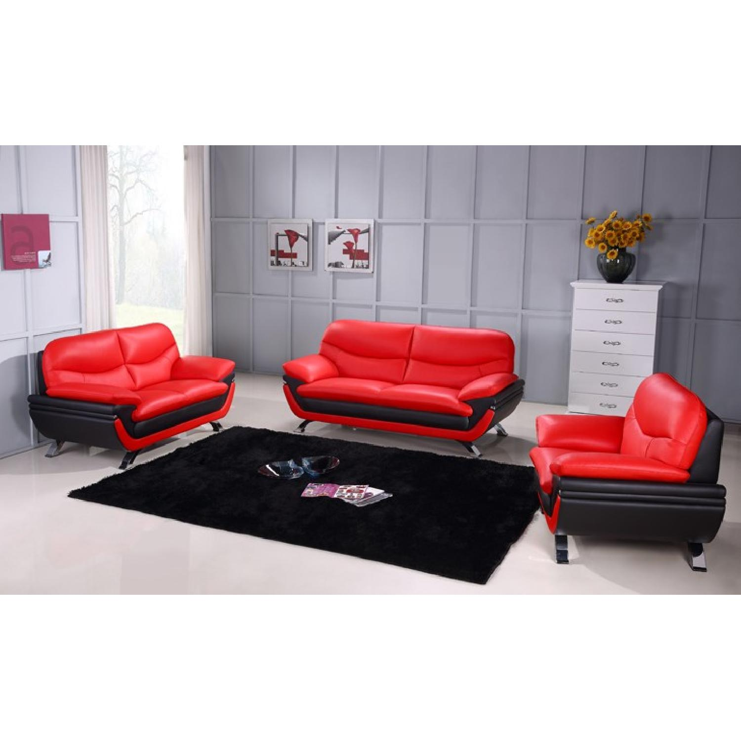 Modern Sofa in 2-Tone Red-Black Top Grain Leather w/ Gently Sloped  Armrests& Chrome Legs