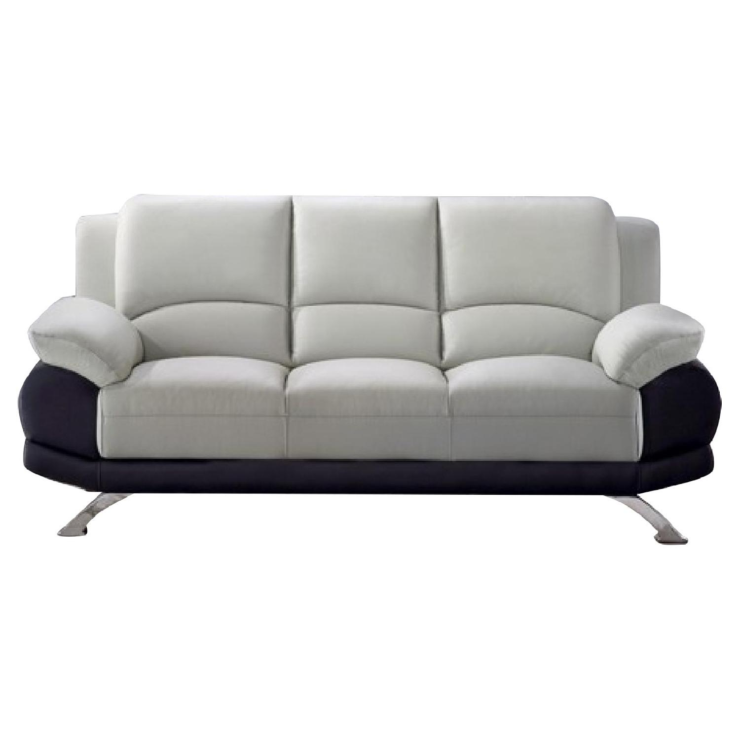 Casual Style Sofa in 2-Tone Grey-Black Top Grain Leather w/ Gently Sloped Armrests & Chrome Legs