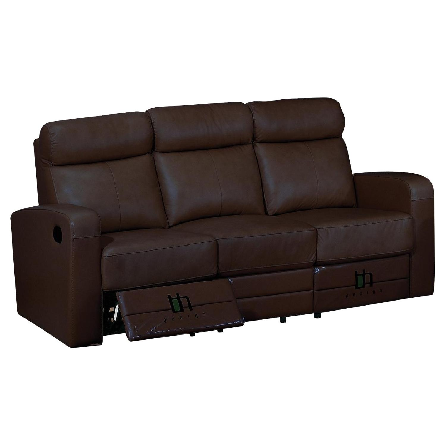 Apartment Size Recliner Sofa in Brown Top Grain Leather - AptDeco